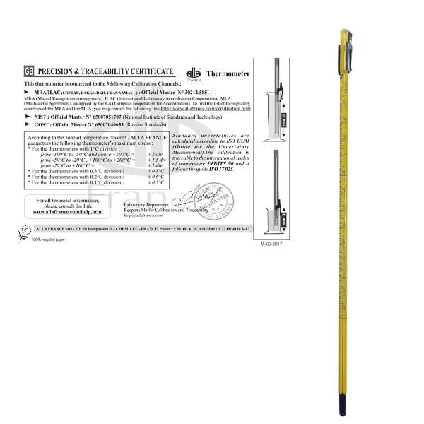 Termómetro de varilla con certificado de precisión y trazabilidad, Alla France