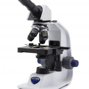 B-153R-PL Microscopio monocular, 600x, batería recargable de iones de litio, objetivos N-PLAN, enchufe múltiple